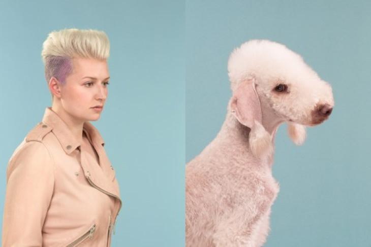 Divertidas Fotos De Perros Que Se Parecen a Sus Dueños Chica de cabello rubio corto y su perro