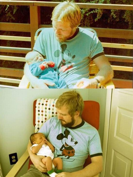 22 Fotos De Hijos Que Parecen Clones De Sus Padres Padre cargando a su bebé