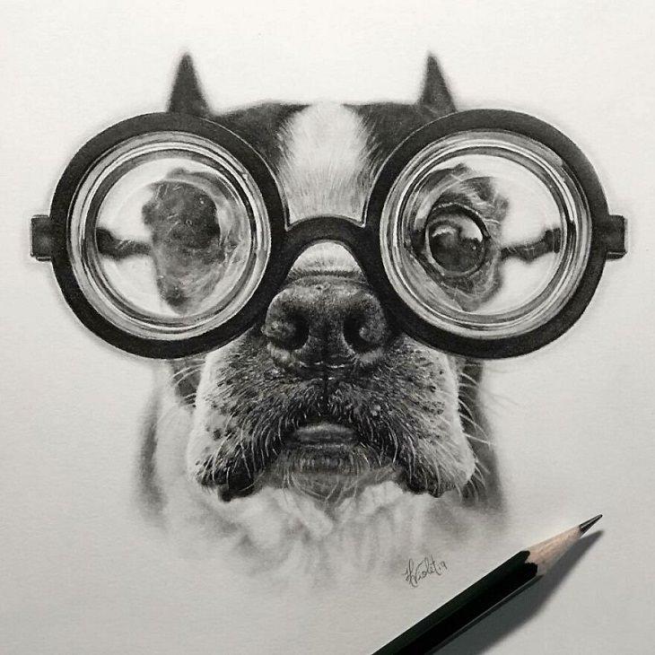 Retratos Hiperrealistas De Animales Perro con anteojos