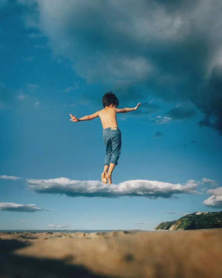 22 Ilusiones Ópticas Que Lograrán Confundirte Niño en las nubes