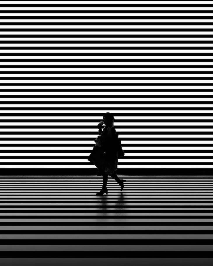 Evocative B&W Photography by Jason M. Peterson woman and stripes