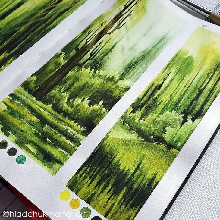 Pinturas En Acuarela De La Naturaleza Árboles