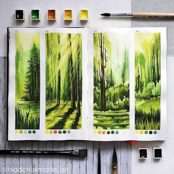 Pinturas En Acuarela De La Naturaleza Bosque