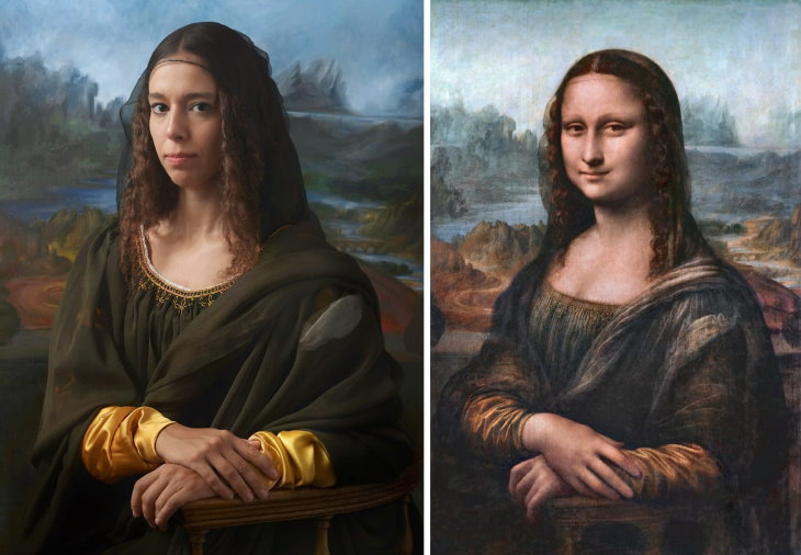 Personajes Históricos y Sus Descendientes La Mona Lisa de Leonardo Da Vinci (derecha) e Irina Guicciardini Strozzi, la 15ª bisnieta de Lisa del Giocondo, modelo de la obra maestra (izquierda)