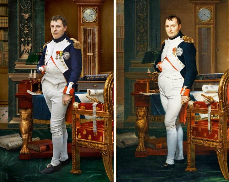 Personajes Históricos y Sus Descendientes Napoleón en su estudio, retrato de Jacques-Louis David, 1812, (derecha) y Hugo de Salis, cuarto bisnieto de Napoleón (izquierda)