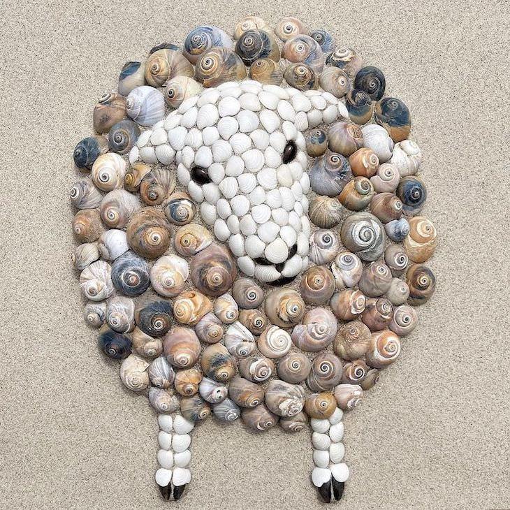 Esculturas De Animales Hechas De Conchas De Mar Cordero