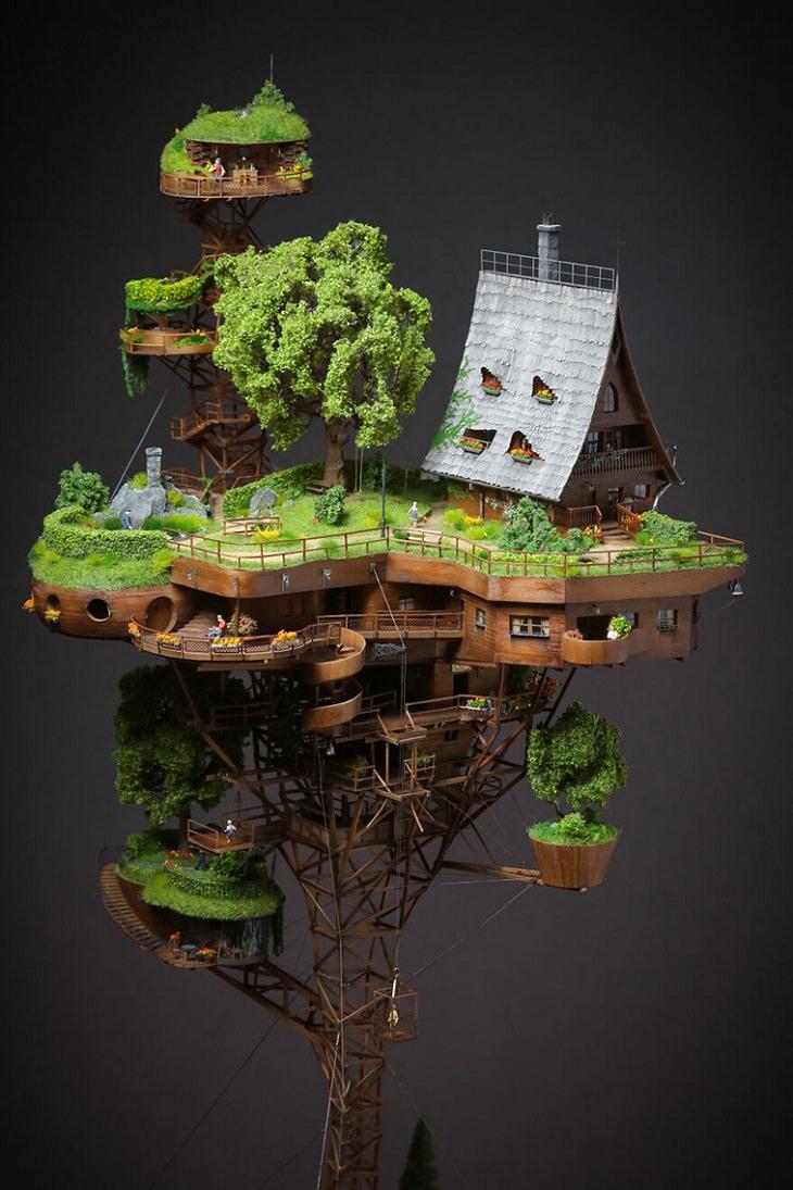 Adorable Villa Miniatura Luce Increíblemente Real Casa