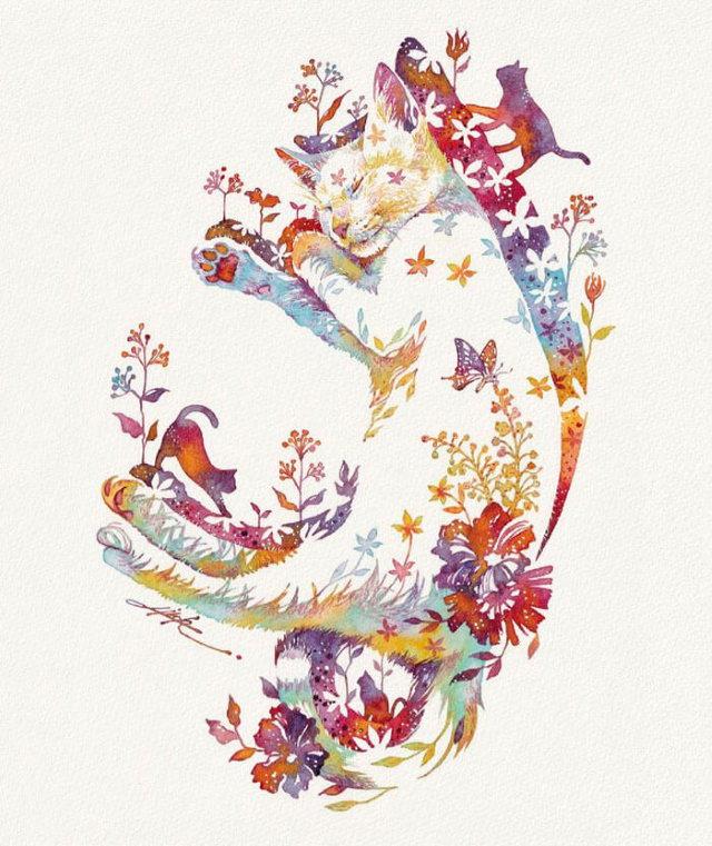 Pinturas De Animales Elaboradas Con Flores Gato durmiendo