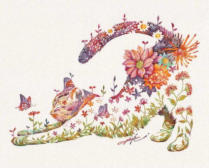 Pinturas De Animales Elaboradas Con Flores Gato estirándose