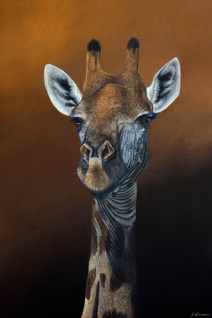 Retratos De Animales Por Sophie Green jirafa