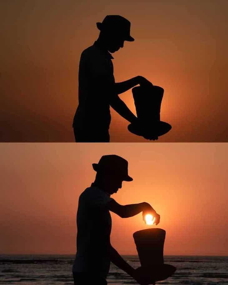 Whimsical Sunset Silhouette Photo by Krutik Thakur hat