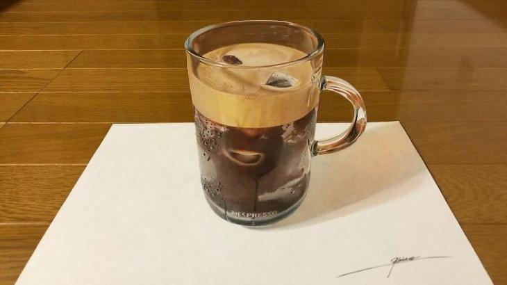 Artista Japones Crea Obras Realistas Café helado