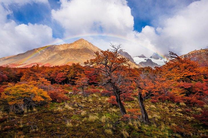 Otoño En La Patagonia Montaña y arcoíris