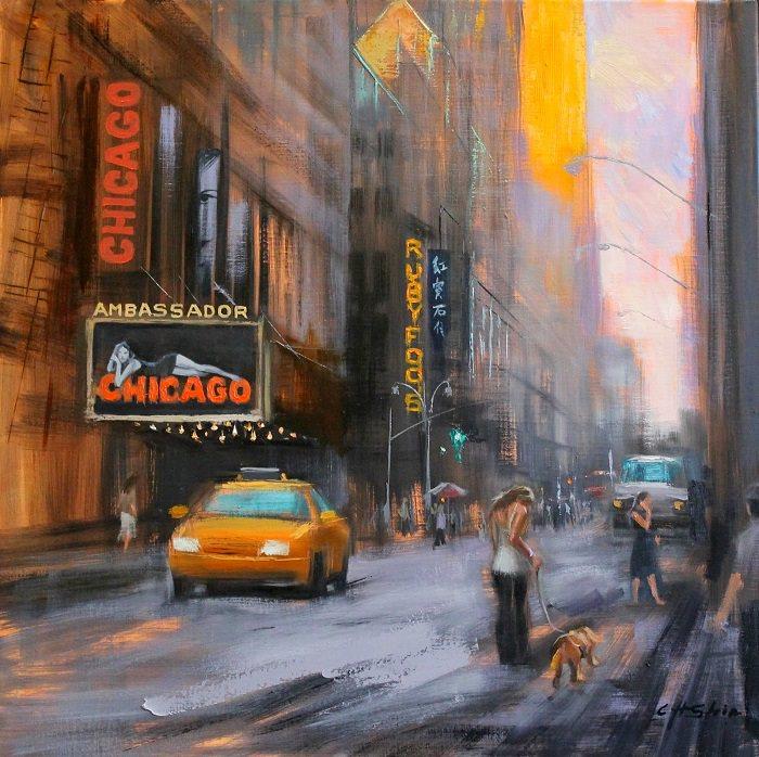 Pinturas Al Óleo Invierno En NY Teatro