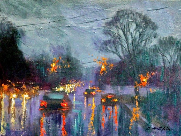 Pinturas Al Óleo Invierno En NY Autos en la lluvia