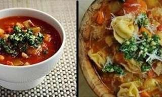 Sopa Ahumada De Tortellini Y Repollo