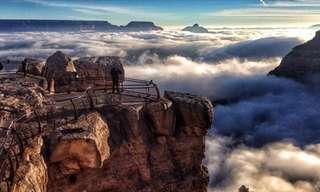 Las Nubes Descienden Sobre El Gran Cañón