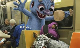 18 Creativas Ilustraciones De Monstruos En El Metro