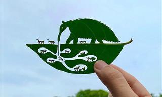 Artista Japonés Recrea Mundos En Miniatura En Hojas De Árbol