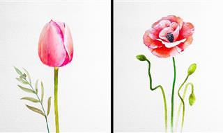 Artista De Acuarela Crea Hermosas Pinturas De Flores