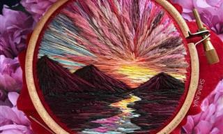 Maravilloso Arte Del Bordado Para Representar La Naturaleza
