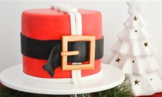 Torta Navideña De Santa Claus Cubierta De Fondant