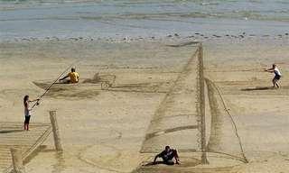 ¡Arte Tridimensional En La Playa!