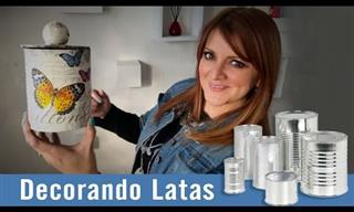 Decorando Latas Con Servilletas De Papel