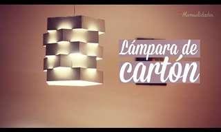 Hermosa Lámpara Reciclada Con Cartón