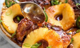 Delicioso Pollo A La Piña Con Chile Picante