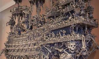 Un Barco Pirata Espeluznante Hecho a Mano Con Objetos Antiguos