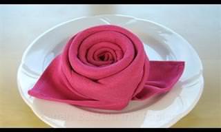 Dobla Una Servilleta De Tela En Forma De Rosa