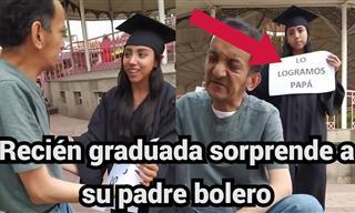 Una Joven Recién Graduada Sorprende a Su Padre En El Trabajo