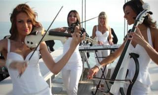 La Hermosa Música De Un Cuarteto De Cuerda Electrónico