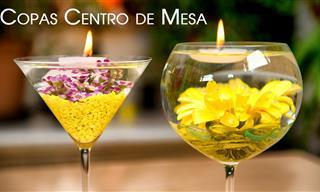 Centro De Mesa con Copas Con Flores Sumergidas Para Navidad