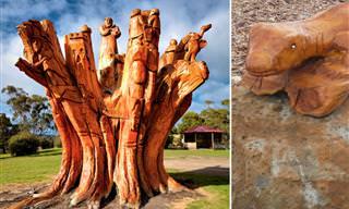 Impresionantes Esculturas Talladas En Troncos De Árboles